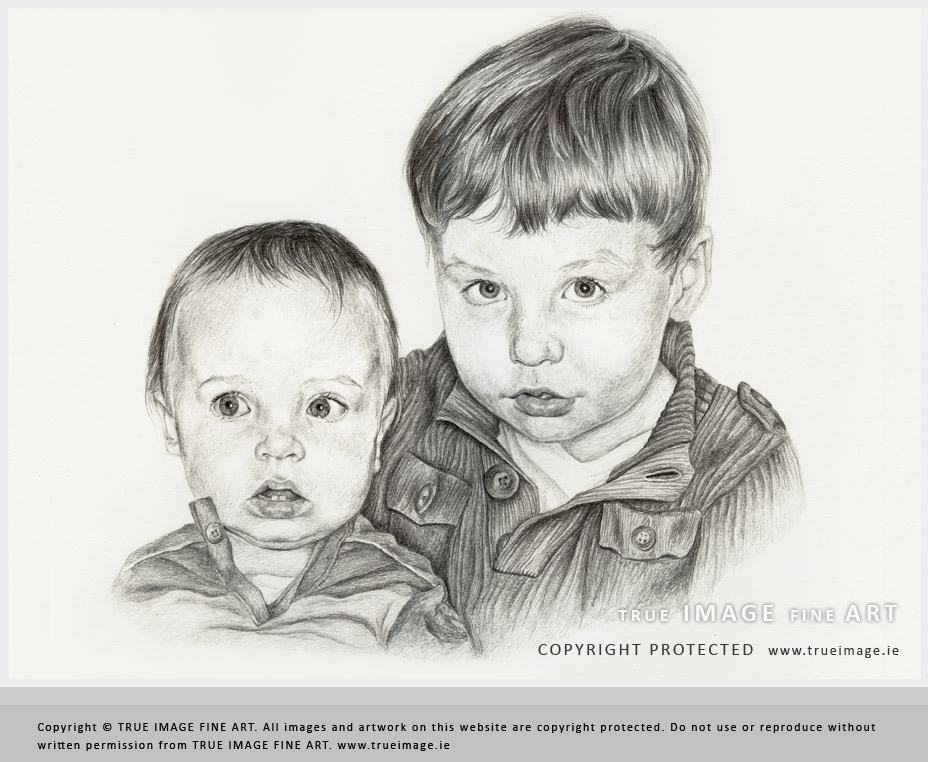 Family portrait of two children in pencil by True Image ...