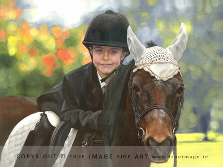 boy on a horse painting in acrylic