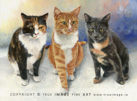 three cats painting
