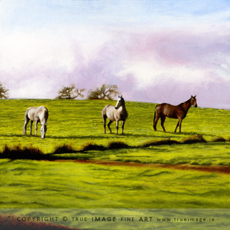 three horses in a field acrylic painting