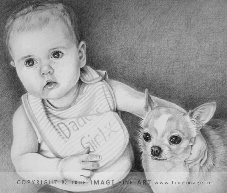 baby and dog pencil portrait