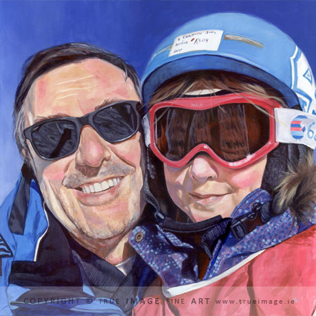 father and daughter acrylic portrait