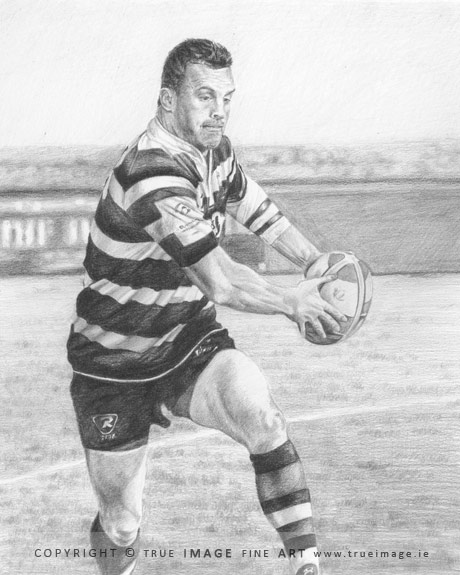rugby player pencil portrait
