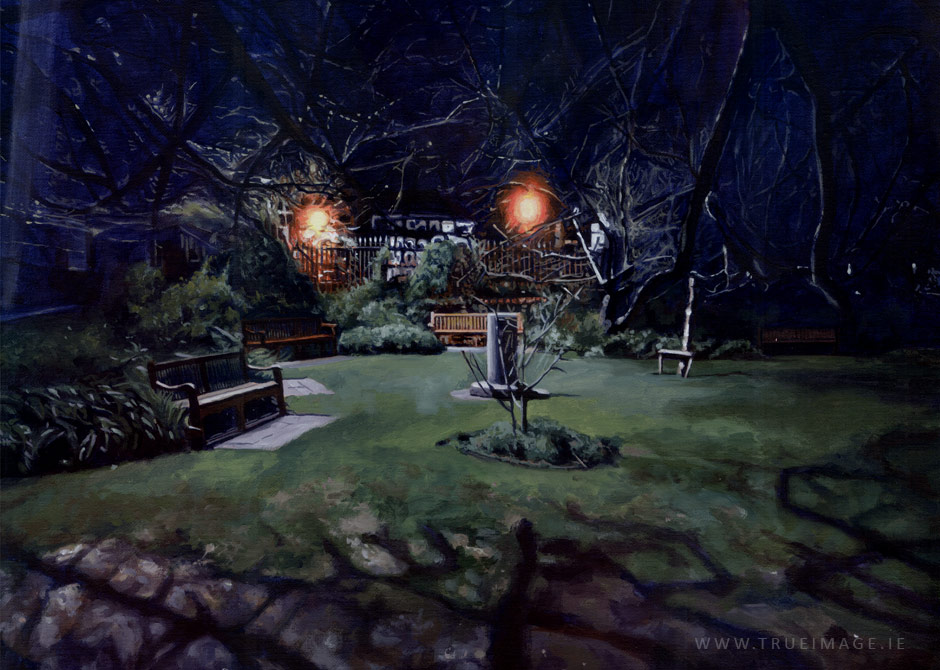 urban park at night painting