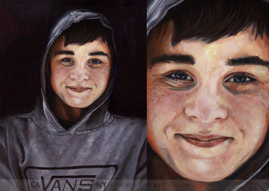 acrylic portrait painting of a teenage boy in a hoodie