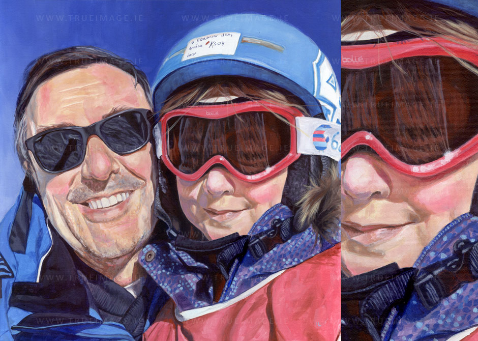 family portrait of dad and daughter skiing