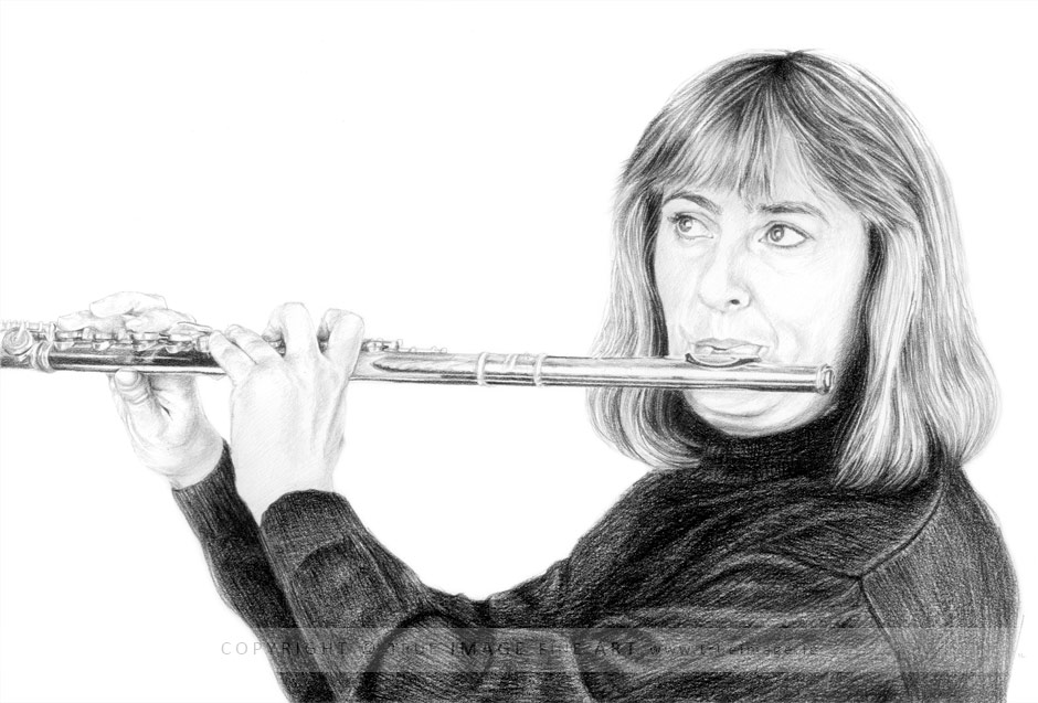 pencil portrait drawing of a musician playing the flute