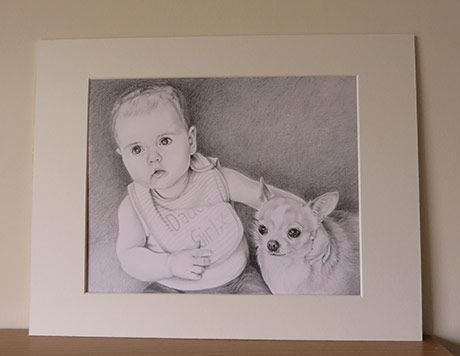 baby and chihuahua drawing in a mount