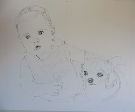 baby and chihuahua pencil sketch