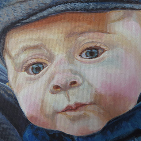 acrylic painting of a baby