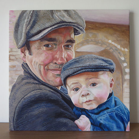 acrylic father and son portrait
