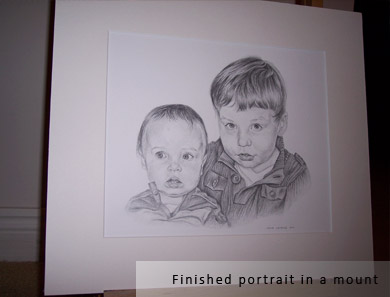 finished children portrait mounted