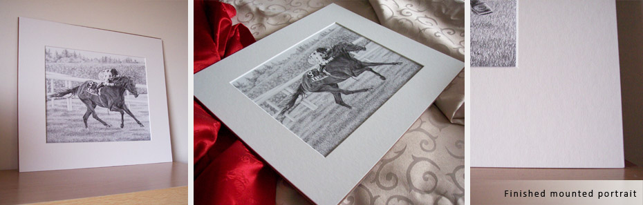 finished horse and jockey portrait in a mount with backing board
