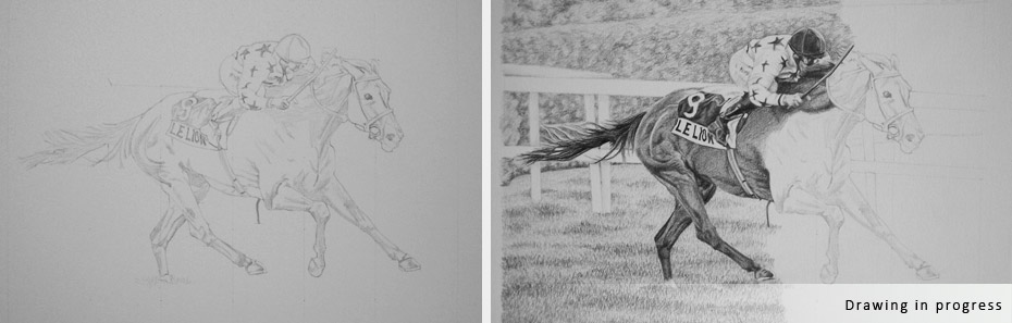horse and jockey portrait in progress photographs - step 1 and 2