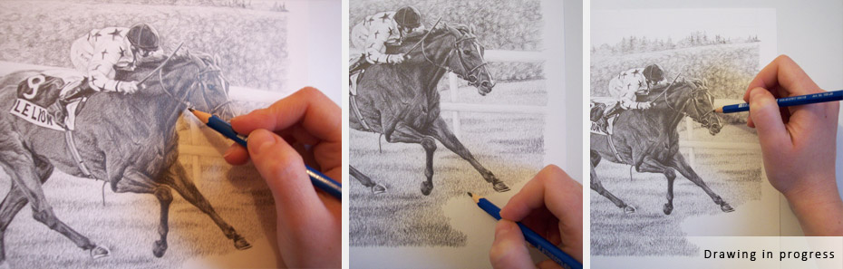 horse and jockey portrait in progress photographs