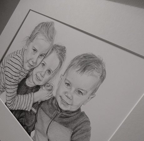 a pencil drawing of kids detail