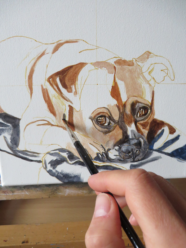 Colour blocking a dog painting