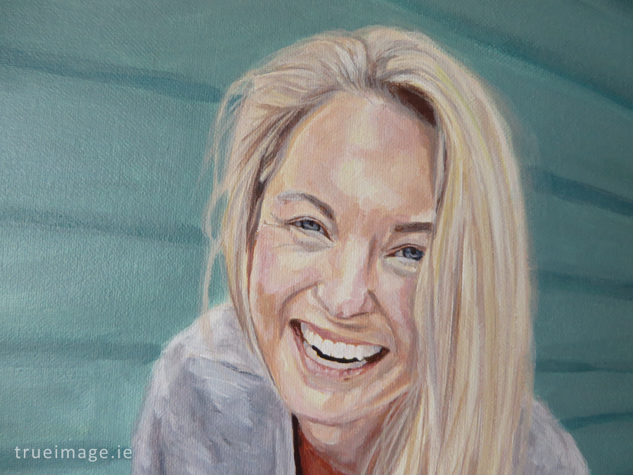 detail of a painting of a blond girl smiling