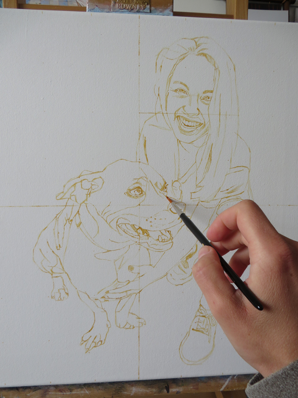 initial sketch for a dog and owner portrait