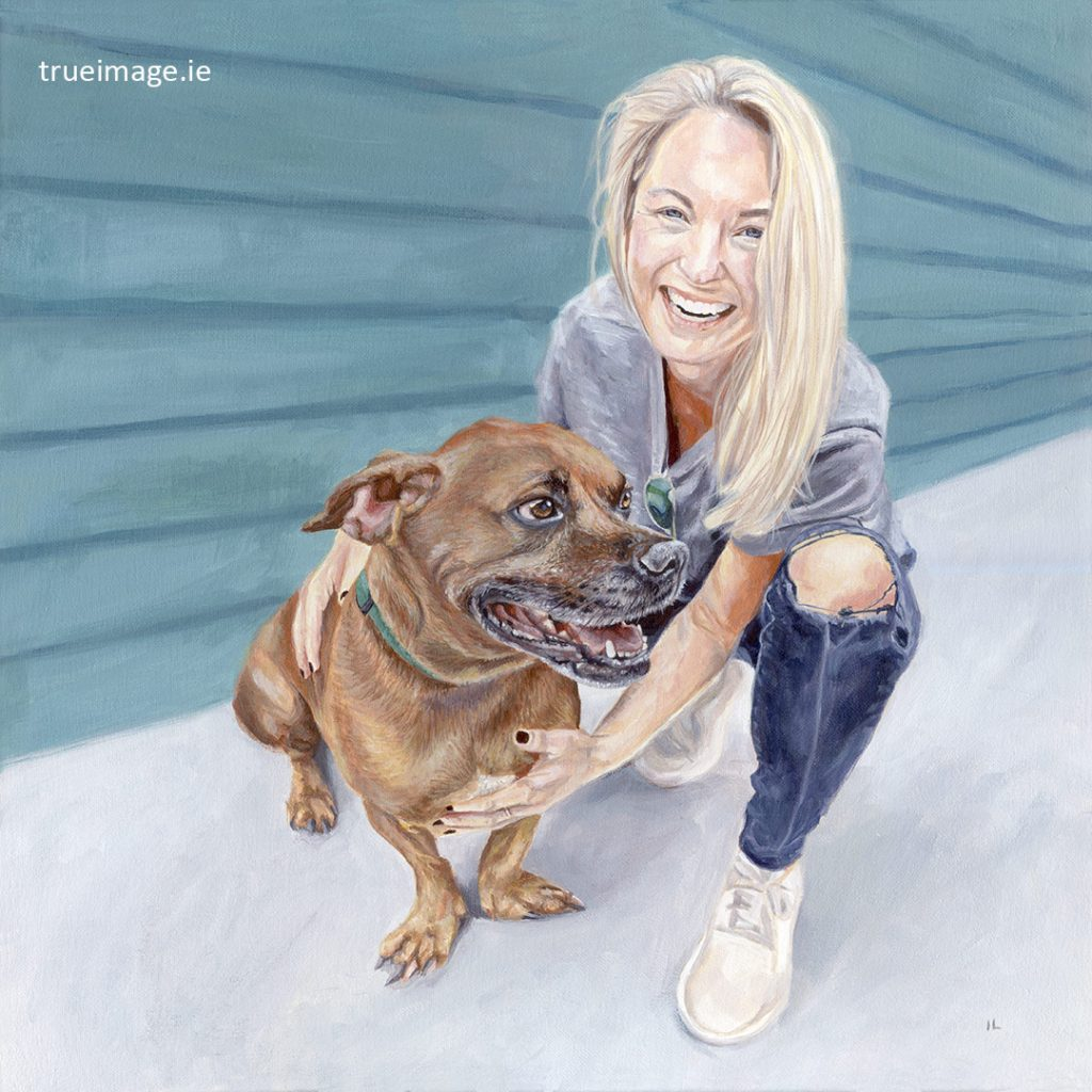 acrylic painting of a tan dog and girl holding him