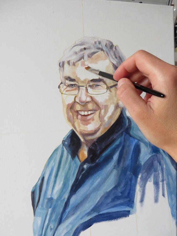 initial colour sketch for a portrait
