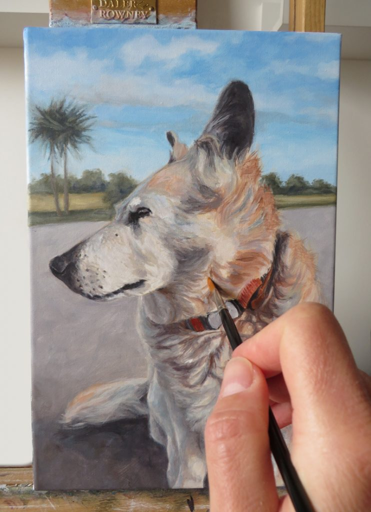 adding detail to a dog painting